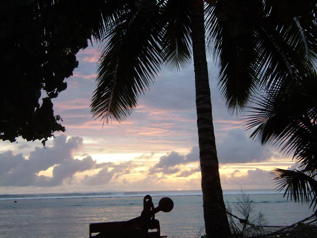 Sonnenuntergang am Aroa Beach, Cook Islands