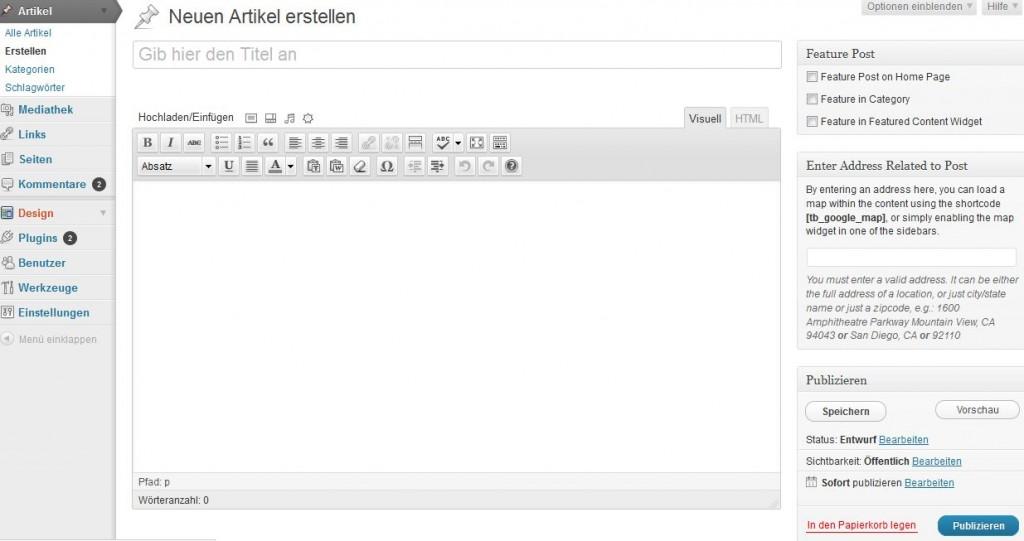 Artikel in WordPress erstellen
