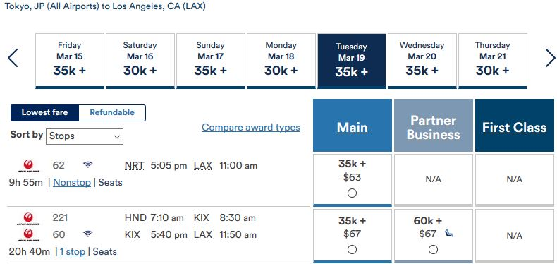 Alaska Air: Tokyo nach Los Angeles