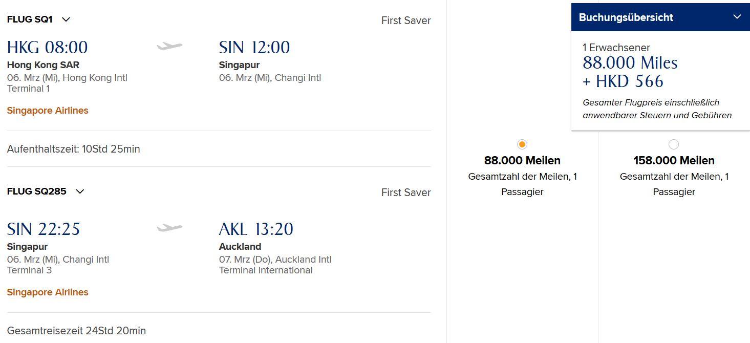 Hongkong- Singapur- Auckland First Class