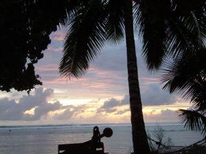 Sonnenuntergang am Aroa Beach, Cook Islands