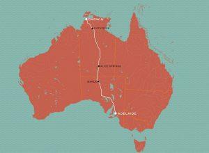 The Ghan Zug Route von Adelaide nach Darwin