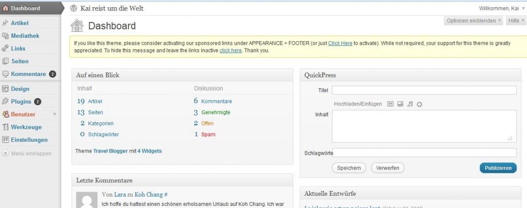 Das Dashboard von WordPress