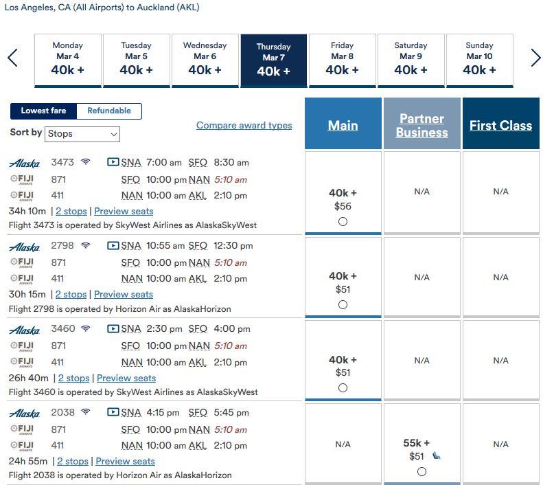 Alaska Air: Los Angeles nach Auckland