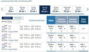 Alaska Air: Luxemburg nach New York