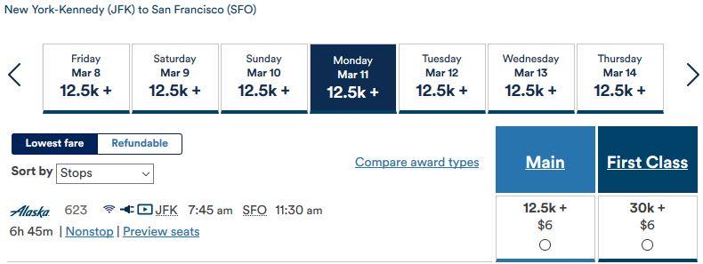 Alaska Air New York- San Francisco