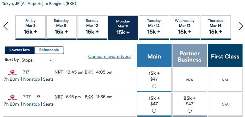 Alaska Air: Tokyo nach Bangkok