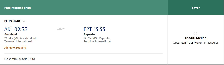 Auckland- Tahiti 12500 Meilen