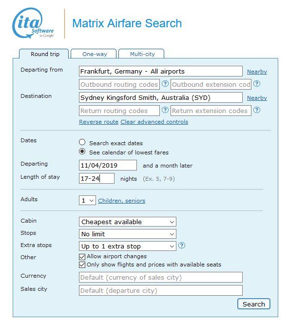 Flüge suche mit der ITA- Matrix