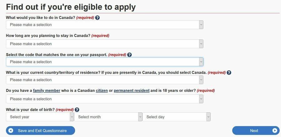 Working Holiday Visum Kanada Fragebogen